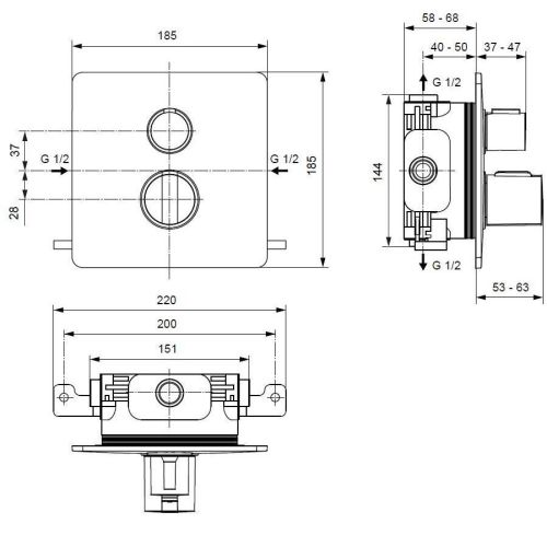 small resolution of ideal standard easy box slim shower thermostatic with 2 function diverter a5880aa spare parts